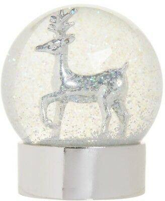 Snow Globe Reindeer Light Up Frosted Silver Stag Christmas Decoration 10cm Xmas