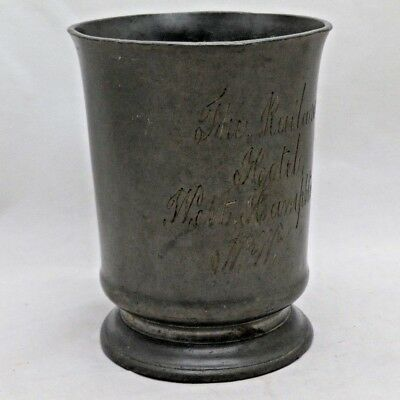 Antique Victorian The Railway Hotel West Hampstead One Pint Pewter Tankard