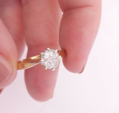 18ct/ 18k gold 85 point old mined cut Diamond solitaire Art deco ring, 750