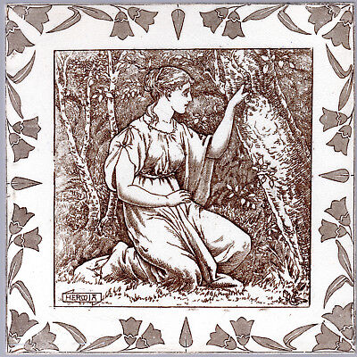 Josiah Wedgwood & Sons -c.1880 HERMIA - A Midsummer's Night Dream - Antique Tile