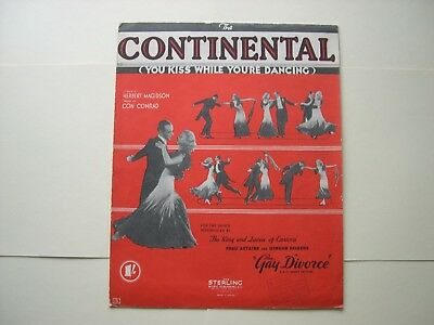 Fred Astaire & Ginger Rogers vintage music sheet - The Continental 1934