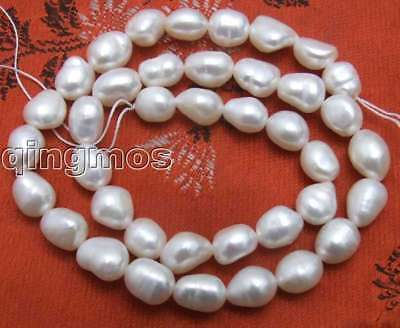 """SALE Big 7-9mm Natural White BAROQUE Freshwater Pearl Loose Beads strand 14""""-523"""