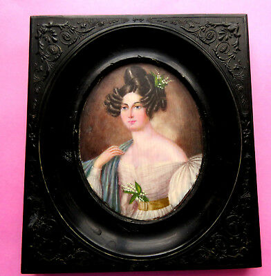 Antique Portrait Miniature Of A Lady. Holding Lilly Of Valley,gutta Percha Frae.