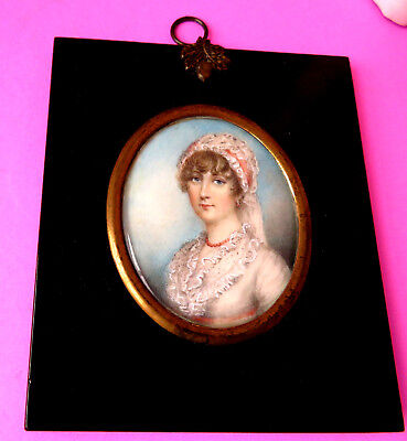 Antique Portrait Miniature Of A Maid Wearing A Lace Bonnet.