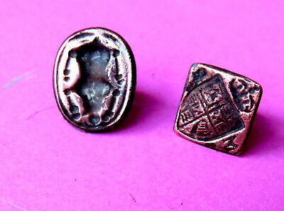 2 TINY ANTIQUE 18th CENTURY  WAX LETTER SEALS ,CROWN TOP HERALDIC SHIELD & URN.