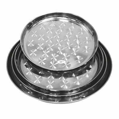 Stainless Steel Round Serving Tray Set 4pc Platter Set in 4 Different Size