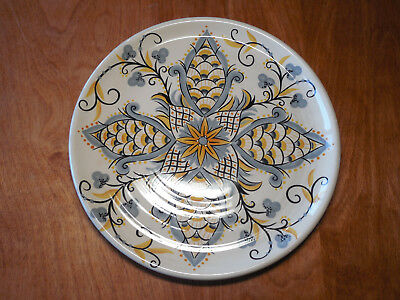 "Pier 1 KARIMA Set of 4 Dinner Plates 11"" Grey Gold Design Coupe embossed rings A"