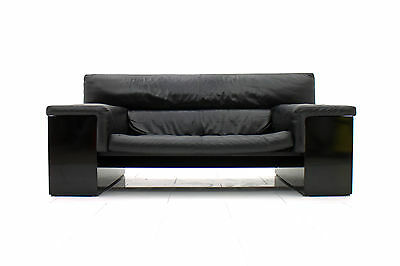 Cini Boeri schwarzes Leder Sofa Knoll International 1977 design 70er