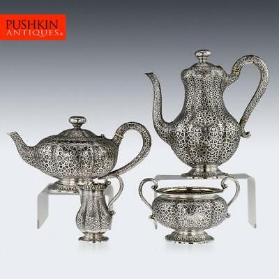 ANTIQUE 19thC VICTORIAN SOLID SILVER TEA SET & COFFEE SET, HUNT & ROSKELL c.1866
