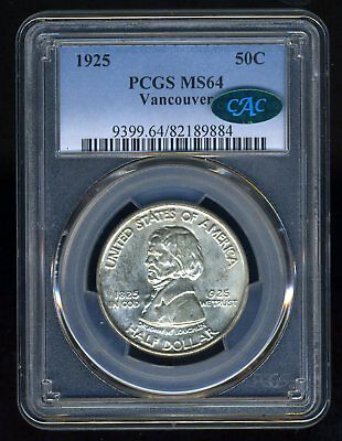1925 Vancouver Silver Commemorative Pcgs Ms64 Cac--- Beautiful Frosty Gem!