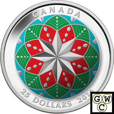 2014 'Christmas Ornament' Colorized Proof $25 Silver Coin .9999 Fine (NT)(14090)
