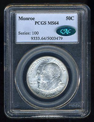 1923 Monroe Silver Commemorative Pcgs Ms64 Cac--- Bright White Gem!