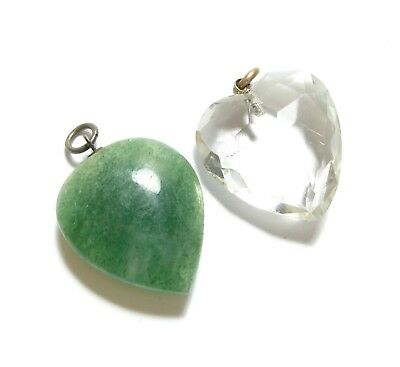 Two Beautiful Antique Victorian Agate & Faceted Glass Heart Shaped Pendants (C1)