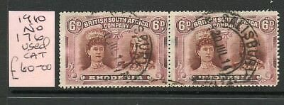 "RHODESIA 1910 SG176 6d BROWN & MAUVE PAIR ""DOUBLE HEAD"" FINE USED PERF 15"