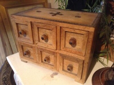 Antique late 19th century light wood spice chest(six drawers)