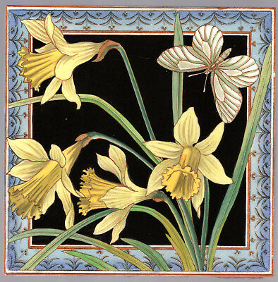 "Maw & Co.- c.1882 - 8""x 8"" - Daffodils & Butterfly - Hand Tinted - Antique Tile"