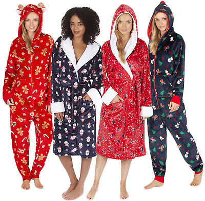 Womens Novelty Christmas Dressing Gown Onezie Xmas All In One Fleece Pyjamas