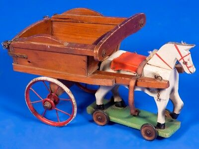 Original Antique Toy Horse + Tip Cart Christmas Bear Doll Display Rocking Horse