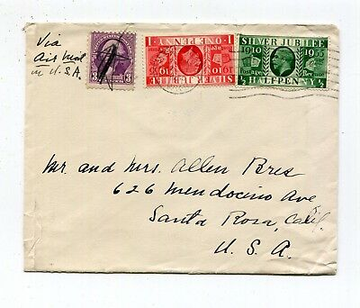 Great Britain & US Mixed Franking 1935 Air Mail Cover to US - Silver Jubilee