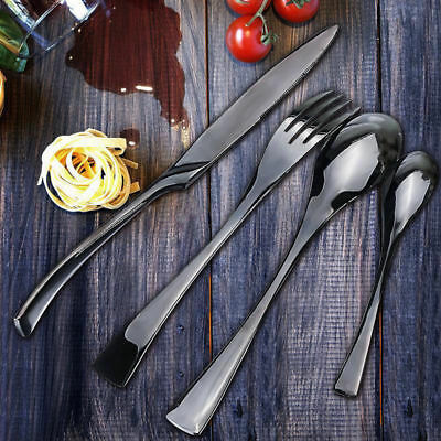 Stainless Steel Dinnerware 4 Piece Black Cutlery Set Knives Fork Spoon Teaspoon