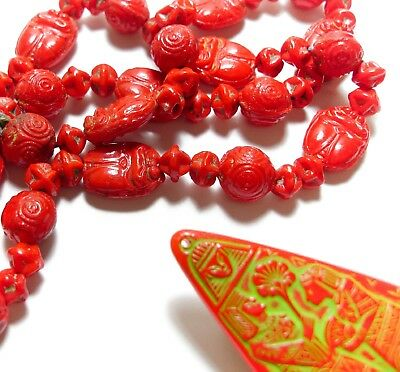 Stunning Vintage Neiger Brothers Red Glass Egyptian Revival Scarab Necklace (C6)