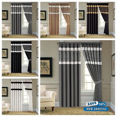 Luxury Faux Silk Pencil Pleat Pair of Tape Top Ready Made Fully Lined Curtains