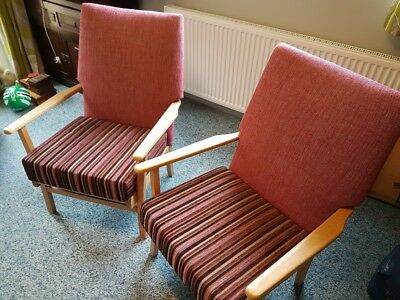 Pair of Parker Knoll style Wooden framed Armchairs