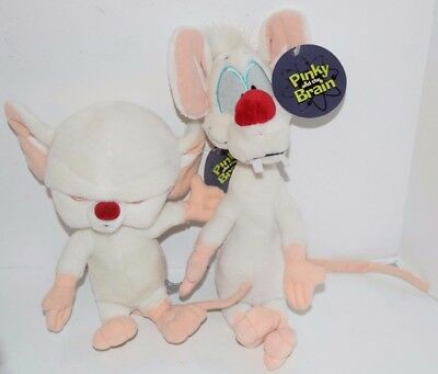 """Pinky 10"""" And The Brain 11"""" Plush Set Warner Bros. With Tags"""
