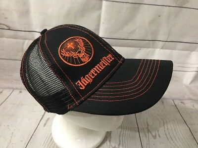 26ce658749a Jagermeister Men s Orange Black Mesh Snapback Adjustable Trucker Hat Cap
