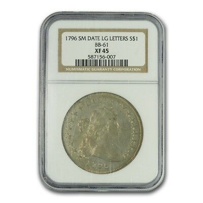 1796 Draped Bust Dollar XF-45 NGC (Sm Date, Lg Letters)