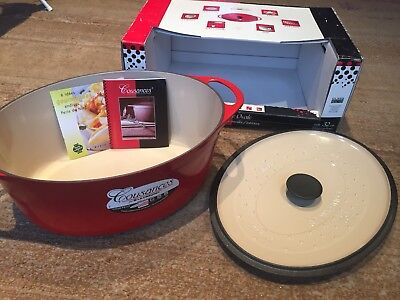 Le Creuset Cousances Iron 32cm Oval Casserole Pot - Cherry Red - New - Boxed
