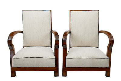 Pair Of Open Frame Art Deco Walnut Armchairs