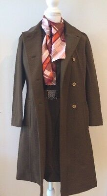 Vintage 60s 70s Betty Rose Poly Brown Office Dress and Matching Jacket Sz Sm 4-6