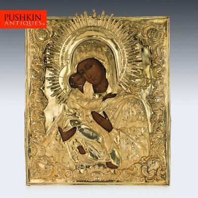 ANTIQUE 19thC IMPERIAL RUSSIAN SILVER-GILT MOTHER OF GOD ICON, MOSCOW c.1851