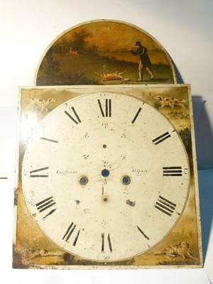 Antique INGHAM RIPON Longcase Clock Dial Enamel Handpainted Hunting Scene