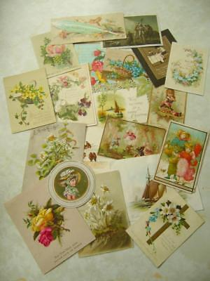 20 Vintage ANTIQUE VICTORIAN CHRISTMAS CARDS inc SINGLE SIDED New Year CRAFT (T)