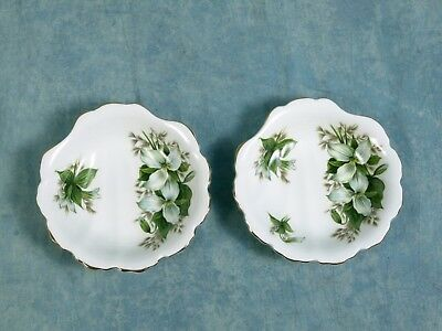 Royal Albert Trillium Shell Shaped Dish Bonbon Nuts Trinket gold white green