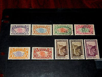 Reunion stamps for sale - 9 mint hinged and used early stamps - great group !!