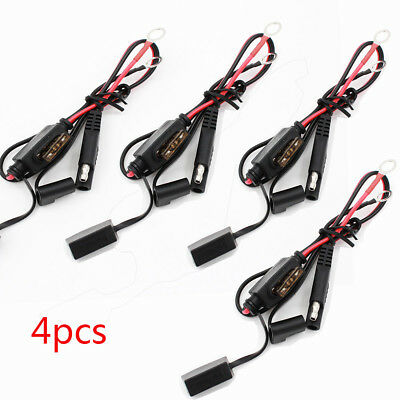 4Pcs Car Battery Charger/Tender Cables Ring Terminal Harness Quick Disconnect