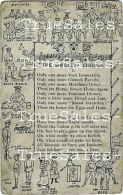 Repo Vintage Postcard: WW1 'The Soldiers Chorus' depicting Army Life in sketches