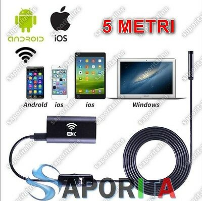 Telecamera Ispezione Endoscopio Wireless Wifi Per Ios Iphone Android 5Mt Hd 720P