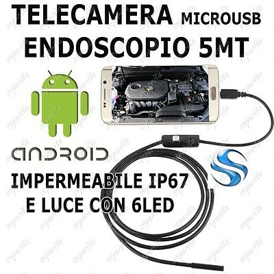 Telecamera Endoscopio 6 Led Per Ispezione Ip67 5 Mt Micro Usb Android/pc Otg