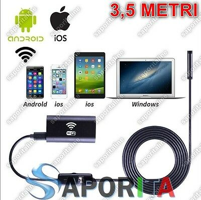 Telecamera Ispezione Endoscopio Wireless Wifi Per Ios Iphone Android 3,5Mt 720P