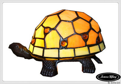 Cute Turtle Tiffany Leadlight Stained Glass Art Deco Accent  Lamp