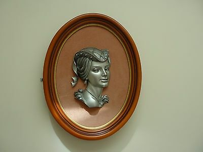 "ETAIN Vintage Pewter Victorian Lady Wood Framed Wall Hanging Plaque 16"" Signed"