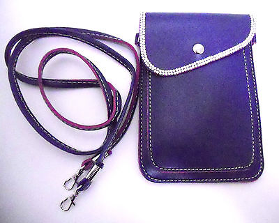 Bag For Cell Phone Camera Rhinestone  Shoulder Cross Body Purse Blue Handbag