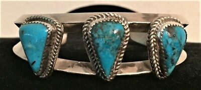 Heavy Native American Navajo Sand Cast Sterling Silver Turquoise Cuff Bracelet