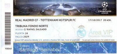 Real Madrid V Tottenham Hotspur 17/10/201 Champions League Ticket
