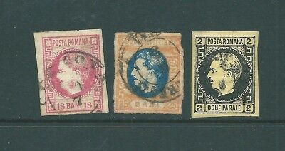 ROMANIA - Unchecked trio of 19th Century stamps