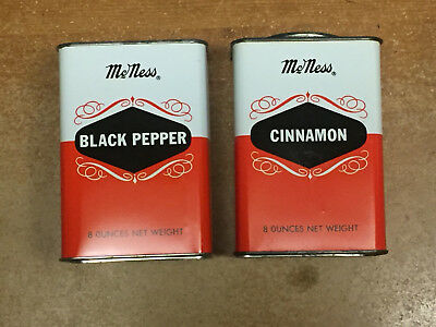 McNESS 8 oz BLACK PEPPER AND CINNAMON EMPTY TINS